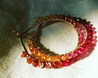 Sapphire gold hoop earrings