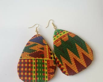 African print / Artdeco Earrings