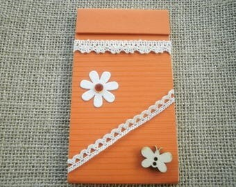 Notepad orange, decorated with flower, butterfly and lace, size 12/6,8 cm