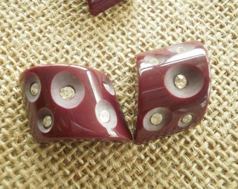 Button jewelry, Burgundy colors inlaid Rhinestones, size 23/18 mm