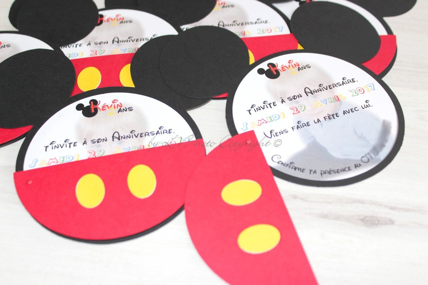Top Faire part tête de mickey personnalisable RY86