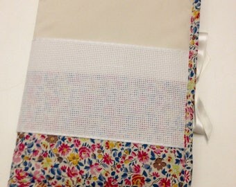 Health book a cross-stitch pattern flowers ivory fabric