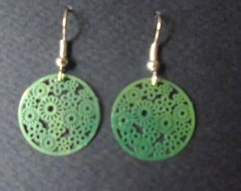 Neon Green charm earrings