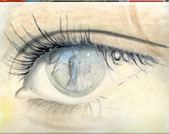 A dream in the eyes: light beige and blue watercolor.