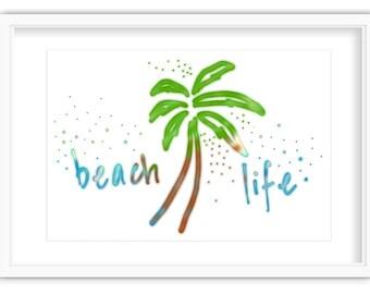 Beach Life, Blue, Geen, Beach, Palm Tree, Digital Download