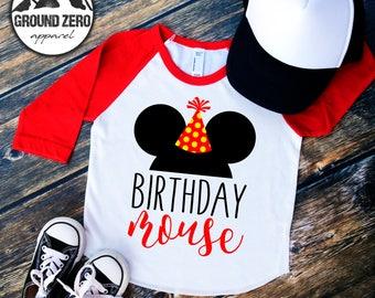 Mickey Mouse Birthday Shirt -  Disney Birthday Shirt - Mickey Mouse Raglan - Birthday Mouse - Mickey Birthday Raglan