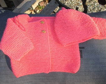 Baby Cardigan age and matching hat in Merino Wool