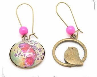 Butterfly bird Cabochon 20mm Cabochon earrings
