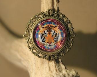 """ring adjustable """"Bollywood Tiger"""" in bronze color metal, Retro, fantasy, India"""