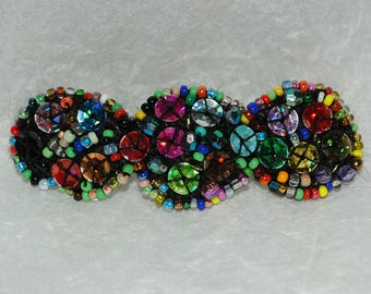 Large multicolor barrette crocheted and embroidered hand beaded and sequin unique