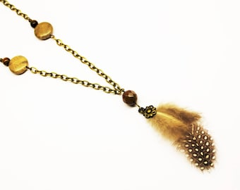 Necklace necklace with pendant fossilized coral beads and feather
