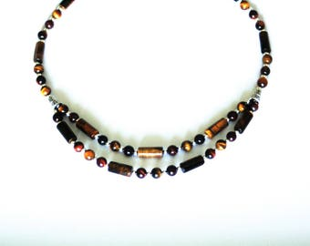 Necklace with Tiger eye gem stones