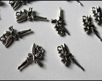 x 1 charm - Tinkerbell - metal silver. Custom jewelry