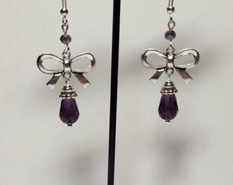 Bow and purple swarovski crystal drops earrings