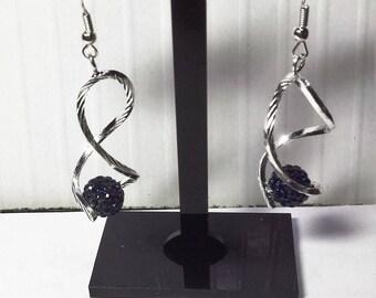 Navy Blue shambala ball twist earrings