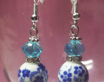 Porcelain and blue Swarovski crystal earrings