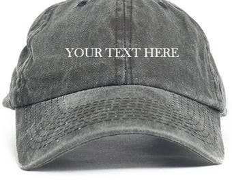 Your Text Here Custom Dad Hat Adjustable Baseball Cap New - Black Denim