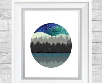 Night Sky Art Print,Mountains,Trees,Circle,Landscape,Blue
