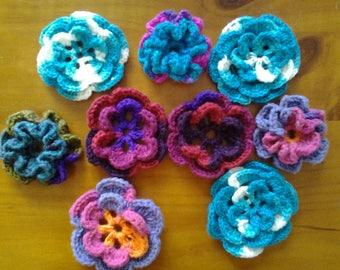 set of 9 crochet flowers