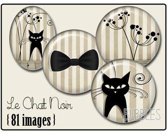 Black Cat Printable Images Digital Collage Sheet for Jewelry Making - Digital collage sheets