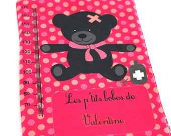 Health booklet protection cover customizable pt' little bobos fuschia dots