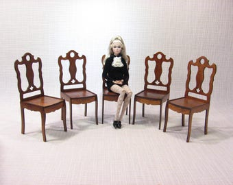 5 chairs furniture for dolls Barbie FR 1:6 1/6 scale dollhouse diorama NEW 2017 handmade v2