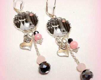 """Earrings """"pair of cats in love in paris!"""""""