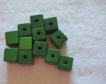 Set of 12 wooden cube beads