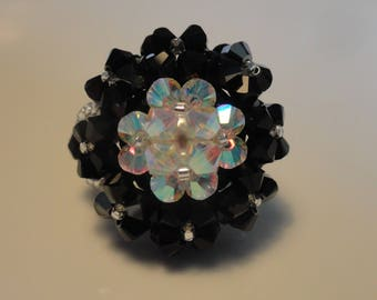 Ring oval girl white and black Swarovski Crystal beads