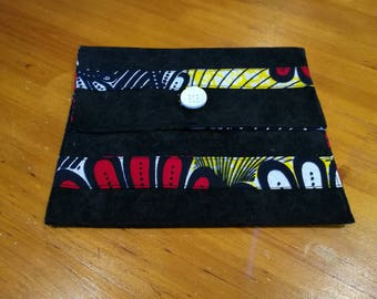 suede and floral cotton African fabric jewelry pouch