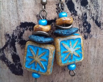 Nature earrings, Sun, yellow and turquoise