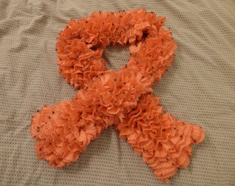 Coral scarf with frou-frou