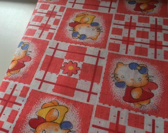 Coupon of fabric cat Angel, red and white fabric