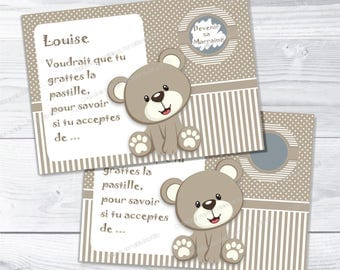 Godmother baptism request card scratch beige bear - christening