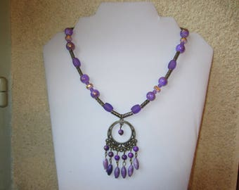 Purple and bronze necklace