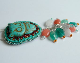 Beadwork, imitation turquoise and OWL necklace
