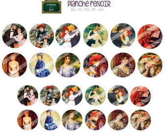 Digital collage sheet Auguste Renoir creation round cabochon (30, 25, 20