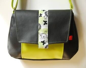 Black and lime green shoulder bag faux leather