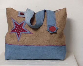 tote bag in genuine burlap and denim, red stars