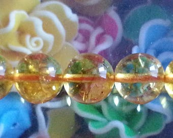 5 10 mm natural citrine beads, 1 mm hole