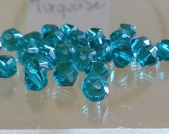 10 glass beads, faceted, Bicone, blue, 4 mm, hole: 1