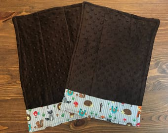 Cozy Cloths- Baby Burp Cloths - Brown Minky with Forest Animals Trim - Set of 2
