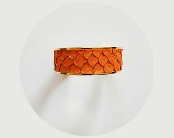 large golden orange leather cuff