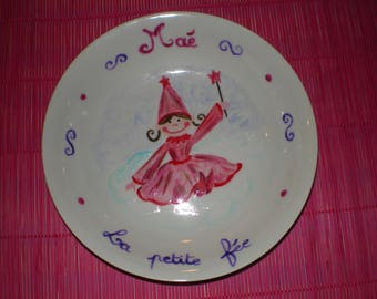 """Painted plate in China """"rose fairy"""""""