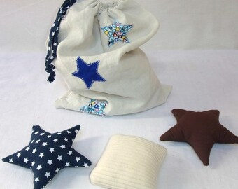 Blue and white reversible pouch, bag and foam 13 toys