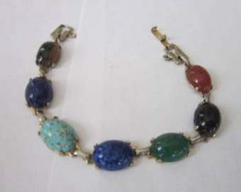 Antique 5 different Semi Precious Stones Bracelet