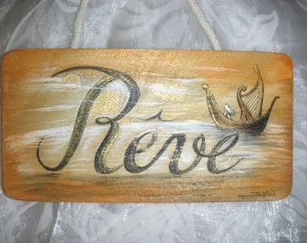 """Dream"" painting on wooden plaque"