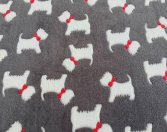 Scottie Dog Cuddle Fleece Fabric - super soft & cuddle - children's blankets, pet beds, crafts