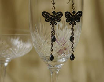 Earrings Black Lace Gothic Victorian lolita retro