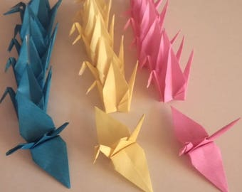 Set of origami cranes: Collection neon